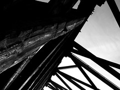 Wooden Bridge Back&White (brandonpike10) Tags: sunset blackandwhite clouds woodenbrigde