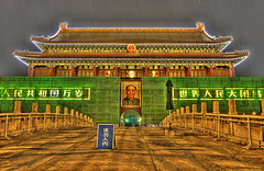 Beijing - Tiananmen Square (Sprengben [why not get a friend]) Tags: city wedding summer sky urban music art japan clouds skyscraper observation tokyo bay harbor amazing nikon asia ship artistic gorgeous awesome watch elevator beijing style divine international stunning ferriswheel tokyotower metropolis roppongi odaiba  yokohama charming forbiddencity foreign fabulous templeofheaven gundam qianmen tiananmen hdr landmarktower peking shushi rainbowbridge maozedong niijima engaging travelphotography d90 keiouniversity photomatix  wangfujingstreet travellight d3s nationalcentrefortheperformingarts sprengben wwwflickrcomphotossprengben fatherofshushi osanbashipeer worldporter beijingscbd
