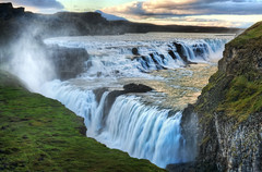 Alone at the Raging Waterfall of Gulfoss (Stuck in Customs) Tags: world travel blue wild sky mist cold green nature water beauty june clouds digital island photography waterfall iceland blog high scenery europe dynamic stuck natural scenic falls rapids glacier photoblog waterfalls whiteriver software processing imaging wilderness range gullfoss hdr tutorial trey sland travelblog customs 2010 crevice icelandic glacial langjokull goldenfalls langjkull northatlantic hvita hvt midatlanticridge ratcliff hdrtutorial stuckincustoms treyratcliff photographyblog hvitariver stuckincustomscom nikond3x