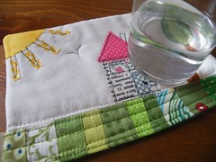 A little mug rug ... (monaw2008) Tags: sun house tree handmade fabric quilting mug patchwork coaster applique mugrug monaw monaw2008