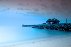 Kuwait - Dawn at the Pier (5:14 AM) (Byron Bueno) Tags: blue pier nikon gulf towers filter series p kuwait arabian byron tobacco bueno d300 cokin gradual 2470mm 80a p124 p123s p020 byronbueno