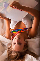 Elena drawing (Walt Stoneburner) Tags: portrait woman white playing hot color cute sexy eye art colors girl beautiful beauty smile face yellow female barn pencils wow pose hair neck happy sketch necklace model eyes colorful long pretty dress photoshoot artistic modeling head drawi