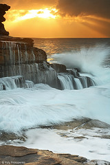 Maroubra Splash (-yury-) Tags: ocean sea cloud seascape water sunrise landscape sydney dramatic wave australia splash swell maroubra supershot abigfave