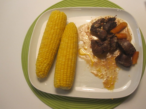 beef shank with carrots, corn