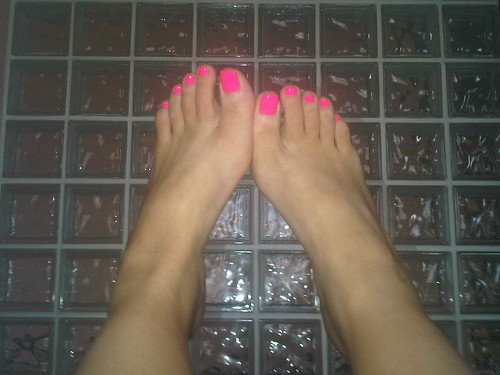 Hot Pink Toes on Glass Block Wall - So 80s