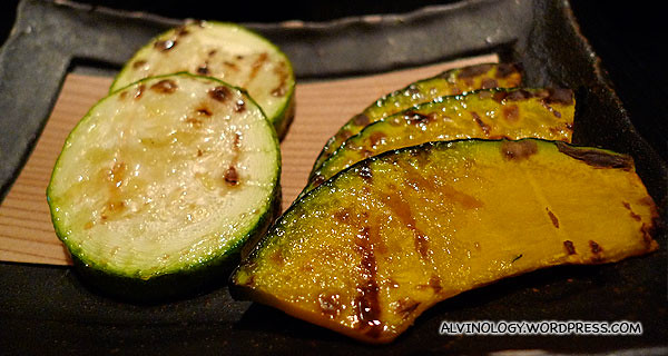 Grilled pumpkin and zucchinni