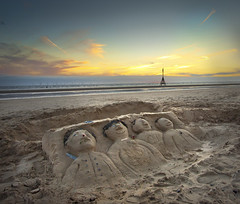 Liverpools Fab 4 at Crosby beach, + a sandsculpture from York in comment, Explored! (Ianmoran1970) Tags: sunset beach water yellow landscape sand place ironman explore another fab4 crosby explored ianmoran ianmoran1970