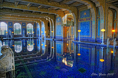 Hearst Castle Indoor Pool (Ellen Yeates) Tags: california blue light vacation sky sun reflection castle public water lamp pool swimming canon ellen state roman mark iii william tourist architect hearstcastle marbles 1ds hearst hdr donate randolph manison indoorpool yeates photomatix dfine viveza canonmarkiii1ds summset eightstatues