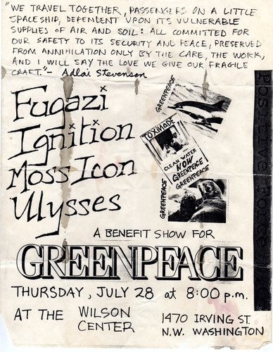 Fugazi, Ignition, Moss Icon punk hardcore flyer