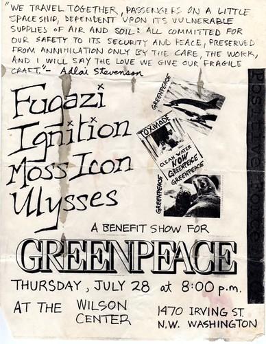 Fugazi, Ignition, Moss Icon punk hardcore flyer