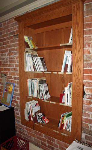 Bird's Nest Zine Library shelves