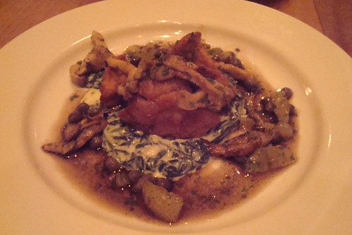 sweetbreads, creamed spinach, capers, oyster mushroom