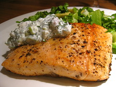 Salmon with Dill Sour Cream Sauce