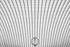 12 o'clock - high noon (Dutch Dennis) Tags: railroad red urban bw abstract art clock lines station architecture modern train canon blackwhite europe arch belgique time wideangle arches symmetry line hour calatrava 1200 noon luik seconds tgv roermond lttich lige guillemins 12oclock dutchdennis