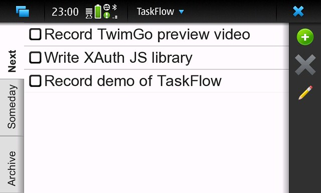 TaskFlow - Simple GTD app for Nokia N900