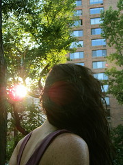 sunny seven (redjoe) Tags: nyc newyorkcity trees windows light urban woman sunlight building hair fur back friend afternoon sweet centralpark manhattan gorgeous upperwestside sunburst freckles roommate fuzz redjoe joehorvath