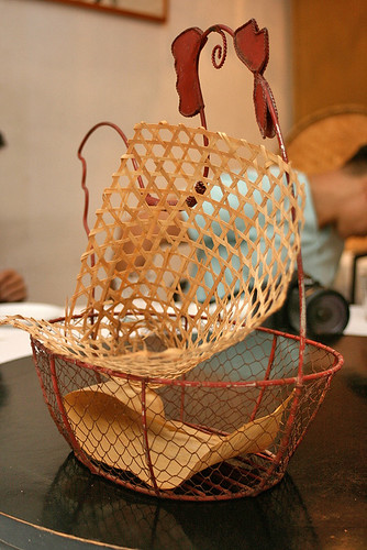 Quirky table decorations like this egg basket