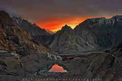 Mordor.. (M Atif Saeed) Tags: pakistan mountain lake mountains reflection nature water sunrise landscape dawn sony karakoram areas alpha northern 700 northernareas atifsaeed gettyimagespakistanq1