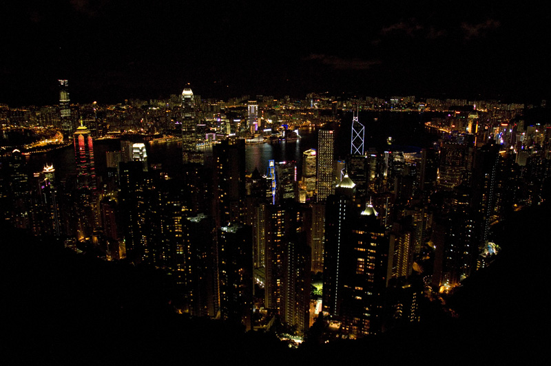 The Hong Kong skyline at night from above.