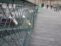 Locks of love on a bridge over the Siene