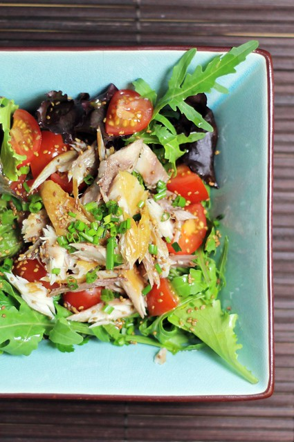 Smoked Mackerel, Cherry tomatoes and Mixed Leaves