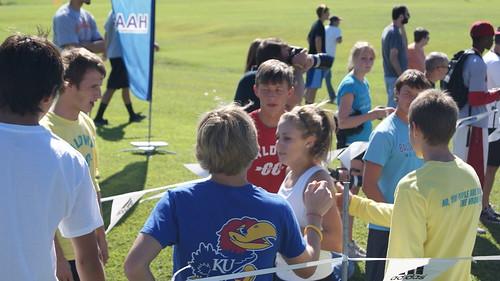 Freshman Lauren Jaqua at the finish line.