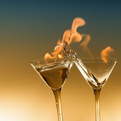 Cheers. (ICT_photo) Tags: glass fire martini drop drip flame cheers splash flaming strobist ictphoto ianthomasguelphontario