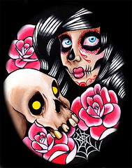 I Want Your Skull (Caressa_sparkle) Tags: woman art up rose wall tattoo watercolor painting de dead skull los rainbow colorful punk artist pin day heart zombie marilynmonroe flash fine dia sugar sacred horror muertos prints facepaint carissa pinup