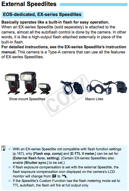 Camera settings and how to use Canon Speedlite flash units with the T3, as documented on page 226 of the Canon T3 Manual
