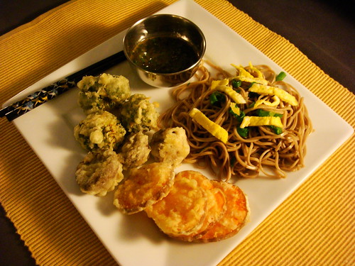 Cold Soba Salad and Tempura