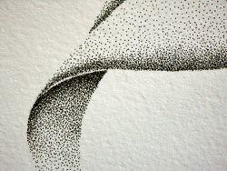 Dessin à l'encre, au point, sur papier aquarelle représentant une architecture végétale inspirée d'un pétale. Ce gros plan représente la base orientée vers le bas – Sandrine Vallée