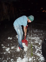 Ryan, a brave volunteer, shoveling feathers (fleepy_99) Tags: sf sanfrancisco 14 cleanup feb pillowfight valentinesday donations justinhermanplaza 2011 pillowsforpuppies
