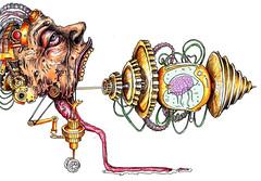 Jellyfish (C.Gmez Latorre) Tags: jellyfish machine brain paintball medusa cerebro maquina bic steampunk mecanico boligrafo engranaje rotuladores dieselpunk biomecanico biomecanic