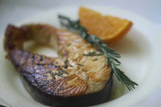 Salmon with Rosemary-orange glaze