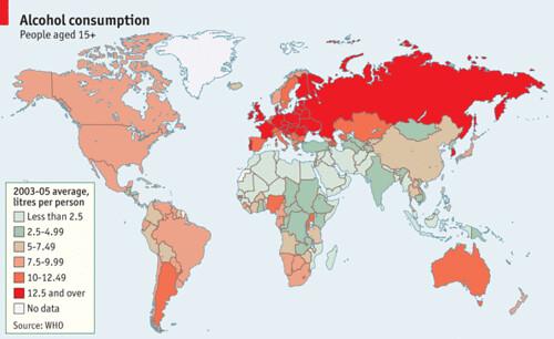 ¿Cuáles países consumen más alcohol?
