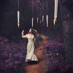 the lights of cathedral forest (brookeshaden) Tags: fineart fineartphotography conceptualart conceptualphotography surrealism whimsicalfairytale fairytale whimsy brookeshaden selfportraiture darkforest hangingcandles harrypotter