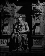Michelangelo's Moses (Thomas Listl) Tags: thomaslistl blackandwhite noiretblanc biancoenegro rome roma rom italy church moses michelangelo art sculpture statue light chiaoscuro dark grey darkgrey marble beard imageborder sanpietroinvincoli