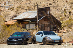 Double Feature (Eric Arnold Photography) Tags: vw volkswagen jetta sportwagen wagen wagon station mk7 low lowered beetle newbeetle wrap wrapped custom nelson nv nevada eldorado canyon lakemead lake mead feature double his hers radi8 wheels simplymoist