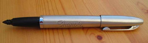 Stainless Steel Sharpie Refillable Permanent Marker: Cap Posted