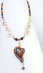 Steampunk heart (papagodesign) Tags: wire heart turtle polymerclay mica pendant clockparts