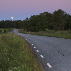 Midsummer moonrise (c e d e r) Tags: road pink blue sunset sky moon color colour art night canon square photography eos countryside skne twilight europe midsummer purple sweden fine full jens solstice moonrise frame sverige fullframe scandinavia midsommar scania fineartphotography ceder night exposure red full moon 5dii bosarp jensceder midsummer