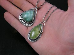 prehnite n emerald pendants (Purified Bill) Tags: sterling emerald pendant prehnite