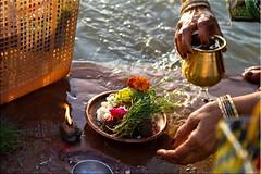Earth + Air + Fire + Water + Spirit = Life (Ursula in Aus - Away) Tags: morning woman india water lamp river mud indian mother flame varanasi hindu ganga asi ganges ghat assi kumbh varanasiindia earthasia