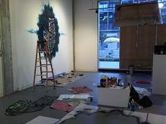 Paper Monster installing at Vincent Michael Gallery