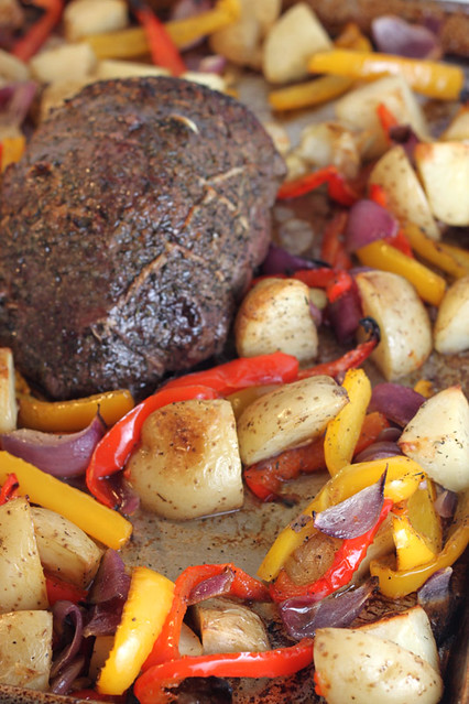 Roast Beef with Peppers, Onions and Potatoes