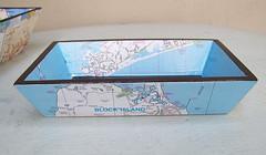 Block Island tray (CarolinaCottage) Tags: handmade roadmap vintagemaptray carolinacottagetray