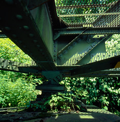 Railway bridge support (schoeband) Tags: 120 6x6 film analog mediumformat geotagged schweiz switzerland suisse bern svizzera e6 interlaken railwaybridge kodakektachromee100g hasselblad500cm geo:lat=46690863 geo