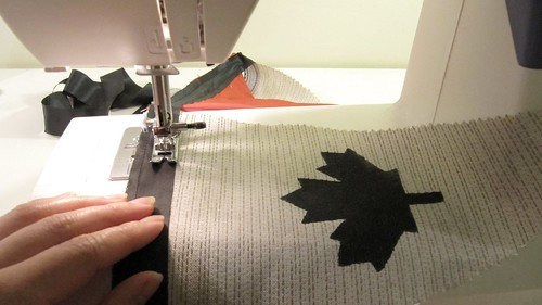 6b. DIY Project: Canada Day Pennant Bunting: Pin Pennants To Ribbon and Sew