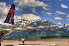 Goodbye Tetons (David K. Edwards) Tags: mountains clouds airplane airport scenery aircraft scenic delta jackson wyoming grandtetons tetons jacksonhole clow jeffclow pachelbelcanon dcpt2010 dirtcheapphototours