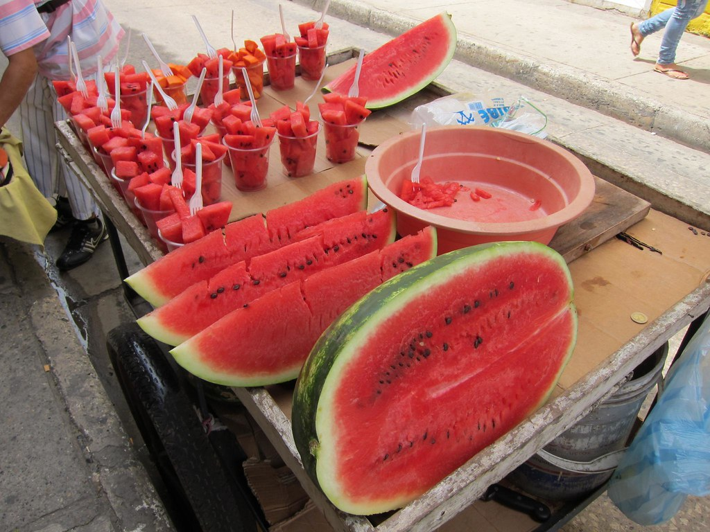 Juicy watermelon for $0.50 a cup is a refreshing treat in the mid-day heat.